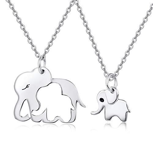 MEDWISE Juego de 2 collares para madre e hijo, con diseño de elefante, de plata de ley 925, para mujeres, madres, hijas, etc.