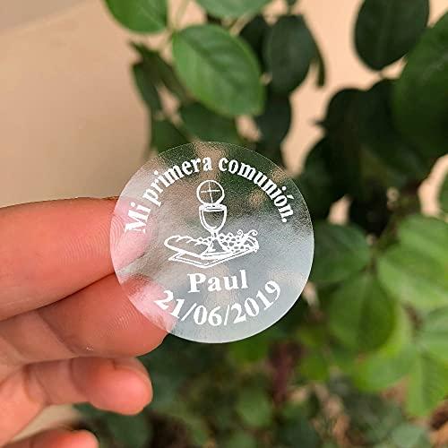 PMSMT Mis primeras Invitaciones de Primera comunión envuelven Sellos 60 cálices Plateados Personalizados círculo Pegatinas Transparentes