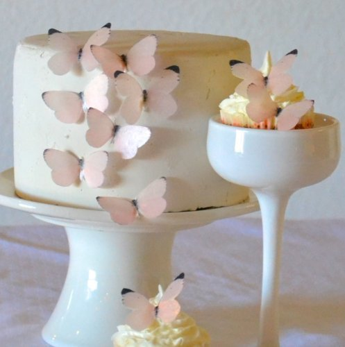 Edible Butterflies - Small Pastel Pink Set of 24 - Cake and Cupcake Toppers, Decoration