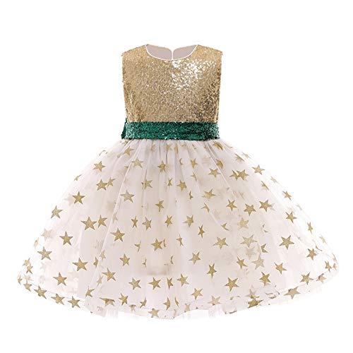 WOYAOFEI Hochzeitskleid Kinder Kleider für Mädchen 2-9 Jahre Sommer Paillette Festzug Kleid Geburtstagsfeier Prinzessin Kleider mit Ärmellose Bowknot herzförmige Halfter Sternnetz Gaze flauschig