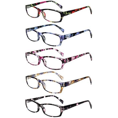 5 Pack Lesebrille Damen,Gute Brillen Hochwertig Mode Komfortabel Super Lesehilfe fur Frauen (5 Farbe Mischen, 3.5)