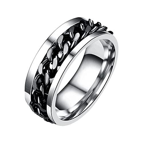 Younoo1 - Anillo Spinner 2 en 1 abridor de botellas, anillo Fidget de acero inoxidable, para hombres y mujeres, cadena de tejer, liberación de ansiedad