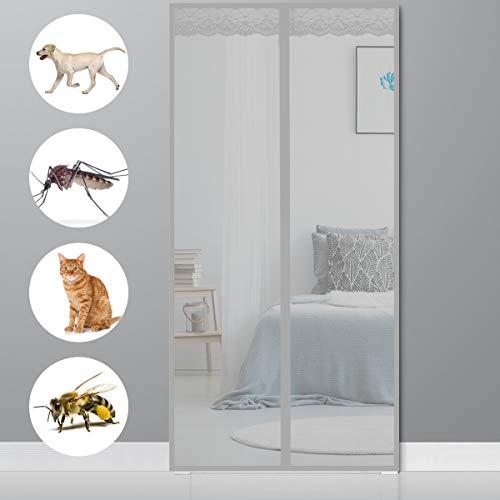 Magnet Vorhang, 75x200cm(30x79inch) Insektenschutz Für Balkontür Insektenschutz Balkontür Klebemontage für Balkontür Terrassentür Schiebetür, Grau