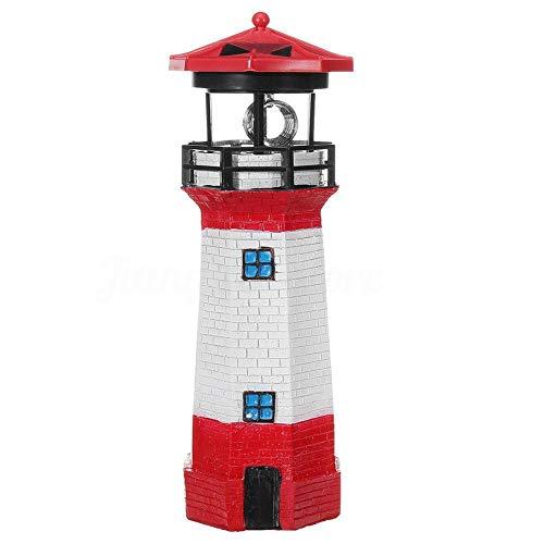 TOMMY LAMBERT Solarbetriebenes LED-Licht, kreative Gartendekoration, Leuchtturm-Form, drehbarer Strahler, für den Außenbereich, Hof, Gartendekoration, Lampe