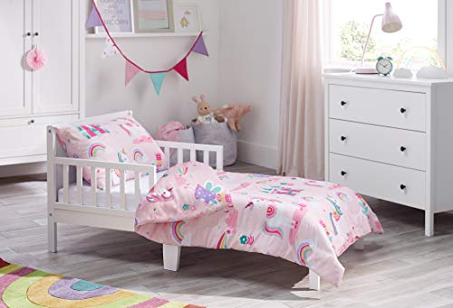 Bloomsbury Mill - Magic Unicorn, Fairy Princess & Enchanted Castle - Kids Bedding Set - Pink - Junior/Toddler/Cot Bed Duvet Cover and Pillowcase