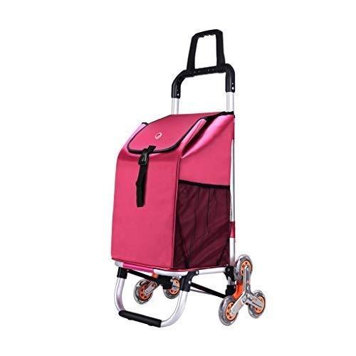 YYSHLA Faltbarer Einkaufswagen Leichter Einkaufswagen Strapazierfähiger Faltwagen for einfache Aufbewahrung Küchenwagen Faltbarer Einkaufswagen Einkaufswagen 6-Rad-Einkaufswagen (Color : Red)