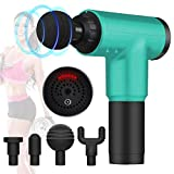 Deep Tissue Massage Gun,Percussion Fascial Gun for Pain Relief,Super Quiet Device,Massagers for Neck and Back,Handheld,6 Speeds,4 Interchangeable Massage Heads (Cyan)