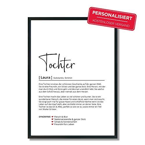 Tochter Definition | Personalisiertes Poster | Geschenk | Geburtstag | Hochzeit | Wörterbuch | Skandinavisch