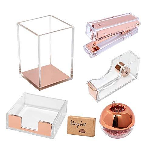 Rose Gold Acrylic Desk Accessories Organizer Set, Tape Dispenser, Stapler 24/6 Staples, Sticky Notes Holder, Magnetic Paper Clips Holder, Pen Pencil Holder, Office Supplies Stationery(Clear Rose Gold)