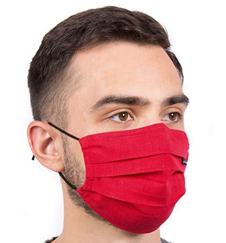 Hochwertige Sommermaske - Atmungsaktiv | Viele Farben | 90° wasch- kochbar | 1-lagig 100% BW | bequemer anpassbarer Gummi | Nasenbügel | Stoffmaske | Behelfsmaske | Alltagsmaske | Mundschutz (Rot)