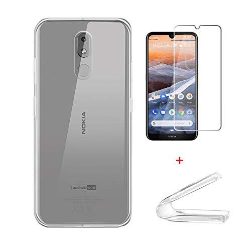 """HYMY Cover per Nokia 3.2 + 1 x Pellicola Protettiva - Morbida Trasparente Silicone Bumper Case TPU Protettivo Copertura Custodia + Vetro Temperato per Nokia 3.2 2019 (6.26"""") -Clear"""