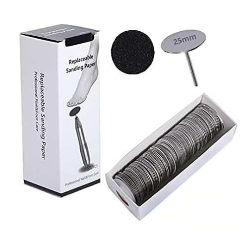 Natury Nails Pododisco 100 dischi di carta vetrata sostituibili con punta base da 25 mm per tornio per unghie, per pedicure, callità, asperità (grana media)