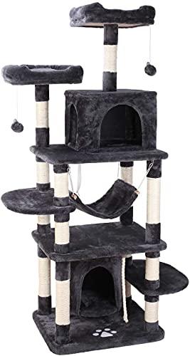 Kratzbaum groß 170cm Stabiler Kletterbaum Spielhaus Hängematte Höhle Ball für Katzen (Grau)