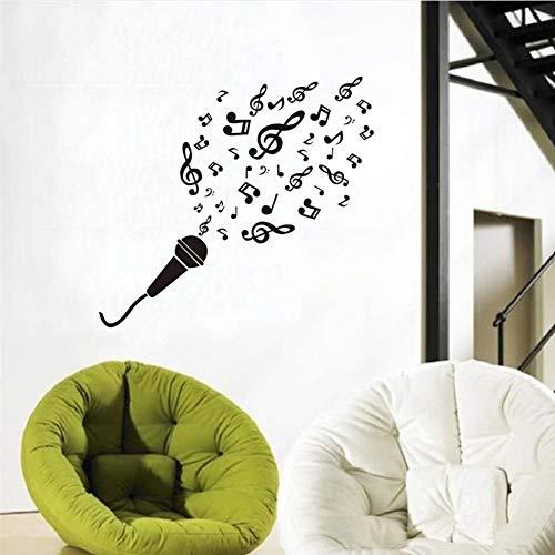 JQFEN Kunst Vinyl Schlafzimmer Dekoration Wandmikrofon Musik Note Wandaufkleber Entfernbare Vinyl Kleber Home Dekoration Wandtattoo Kinderzimmer