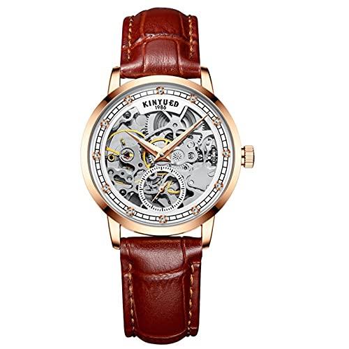 JTTM Relojes Analógicos Automáticos Mecánicos Relojes De Esqueleto Hombres Reloj con Correa De Cuero Azul Relojes De Pulsera Impermeables para Hombres De Negocios Hombres,Marrón,Women