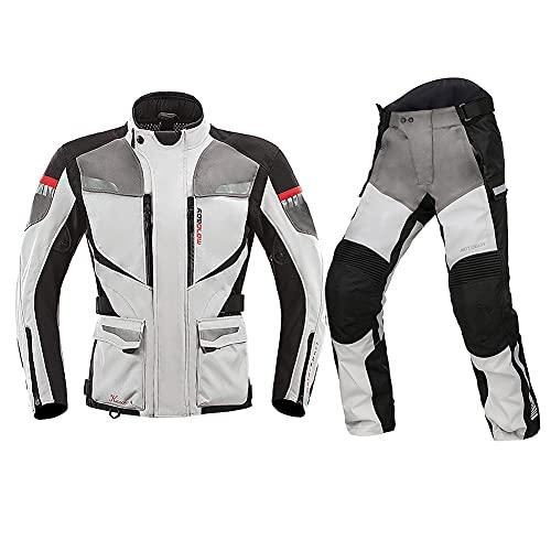 ZDSKSH Impermeable moto moto chaquetas y pantalones para hombre con armadura verano invierno textil motocross Racing scooter motocicleta traje conjunto 2 piezas