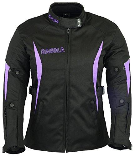 Ledershop-online Bangla Damen Motorrad Jacke Motorradjacke Textil Schwarz lila XL