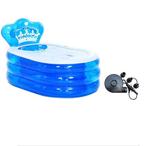 Dames Opblaasbare Opvouwbare Badkuip, Rechthoekig Transparant Zwembad, Bubble Bad Bloem Bad Enkele Bad Thuis Spa Warm Bad Met Pomp 130 * 75 * 70cm Blauw