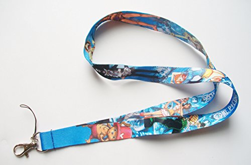 Anime ONE PIECE Monkey D Luffy & Characters Blue Color Fabric Lanyard