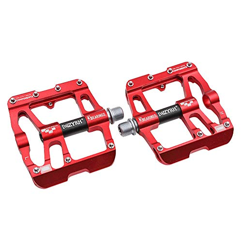 TANCEQI Bicycle Pedals Aluminum Alloy Non-Slip 9/16 Wide Plus Flat Cycling Pedals Sealed Bearing Axle Boron Steel Spindle with Metal Texture for Mountain BMX Road Bicycles,Red
