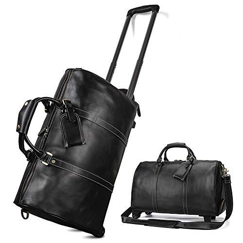 Luggage Leather Trolley Bag, Wheeled Travel Duffel Bag, Large-Capacity Travel Garment Bags, Waterproof Duffle Bags for Men, Best Weekend Bag