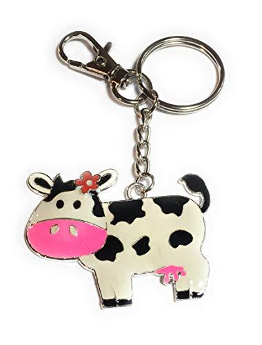 FizzyButton Geschenke Emaille Kuh Taschencharme Schlüsselanhänger
