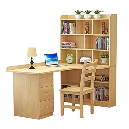 QTWW Escritorio de Esquina para computadora de Pino en Forma de L Mesa de Estudio multipropósito con pequeño Deflector, gabinete Lateral con Gran Espacio de Almacenamiento, para Oficina en casa,