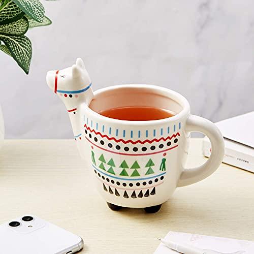 GINDU Taza de Llama para café o té - 3D Llama Taza de café con Mango diseños Impresos - 16 onzas fluidas, diversión Linda cerámica Hecha a Mano Taza de Animal (Color : White)