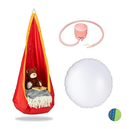 Relaxdays Hängehöhle Kinder, robuster Stoff, Indoor und Outdoor, 140x55cm, bis 70kg, Hängesack mit Haken-Öse, orange-rot