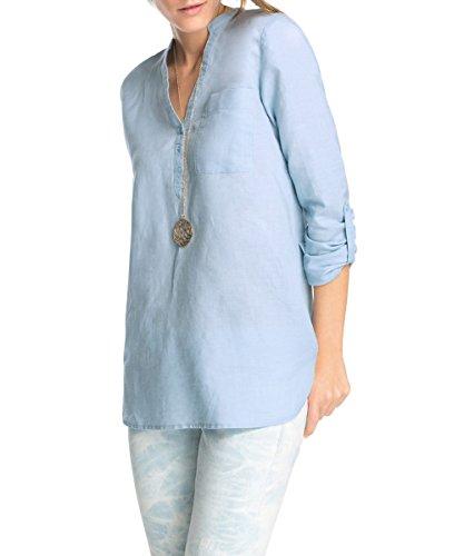 ESPRIT Damen aus Leinen Bluse, Blau (Shirt Blue 489), (Herstellergröße: 38)