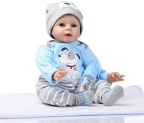 Nicery Reborn Baby Doll Renacer Bebé la Muñeca Vinil Simulación Silicona Suave 22 Pulgadas 55cm Boca Natural Niña Niño Juguete vívido Azul Perro