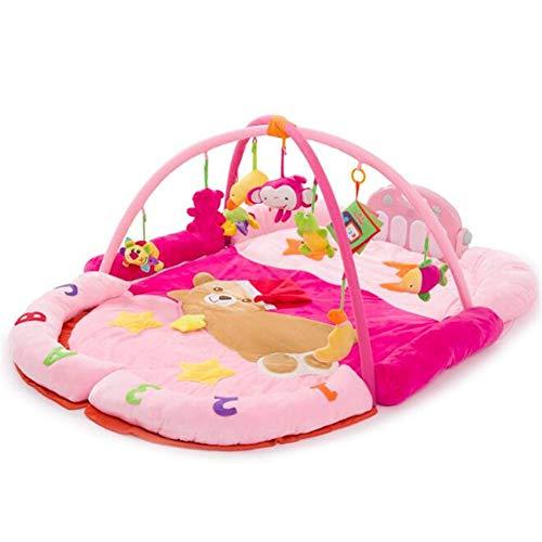 Tapis de Jeu pour bébé - Gym avec lumières Musique et mélodies - Pieds d'ours Piano Couverture de Jeu pour bébé Couverture pour Ramper pour bébé Support de Forme,Pink