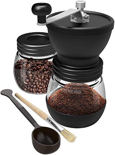 Carrefour Molino de café molido a mano, molinillo de cerámica de grano de café, molinillo de mano, cafetera compacta para casa, oficina y viaje, con cepillo y cuchara (vidrio)
