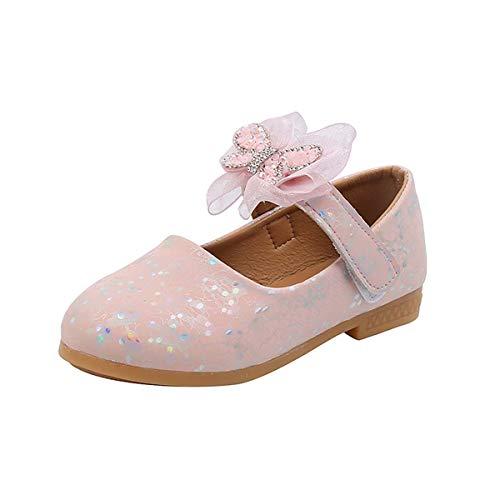 JOEupin Mary Jane - Zapatos de vestir para nias, diseo de flores para damas de honor con purpurina, para nios y nias, color Rosa, talla 23 EU