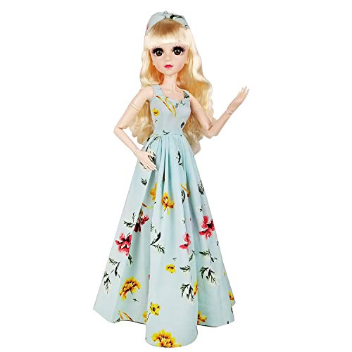EVA BJD 57cm 22 Inch Doll Jointed Dolls - Including Clothes with Wig, Shoes,Accessories for Girls Gift (Holiday Wear-Blue)