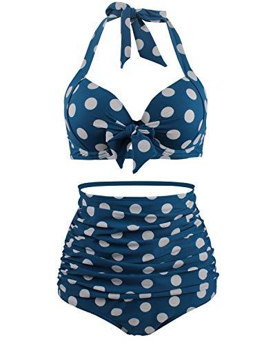 Bslingerie® Sexy Damen Retro Bademode Übergröße Halfter Bikini Set (3XL, Blau Top)