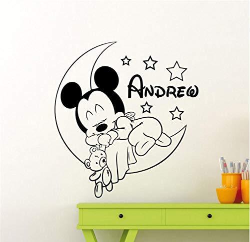 MUXIAND Gepersonaliseerde aangepaste lijm met muis ontwerp voor muur kinderkamer baby naam gepersonaliseerde cartoon thuis decor kinderen meisje jongen kamer muur sticker 58x63cm
