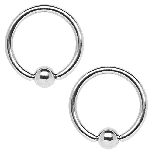BodyJ4You 2PC Ball Closure Ring Stainless Steel 12G BCR 19mm Ear Lobe Nipple Conch Albert Piercing Jewelry