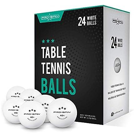 Pro Spin Pelotas de Ping Pong - Blanco - Pelotas 3* 40+ (Pack de 24) para Tenis de Mesa | Pelotas ABS de Alto Rendimiento y Durabilidad para Mesa de Ping Pong Interior/Exterior, Competición