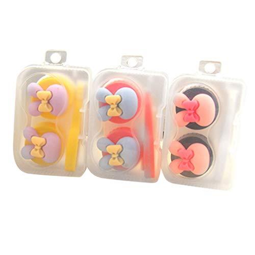 Heallily Kontaktlinsen-Reise-Set, tragbare Kontaktlinsenhalter, Pinzette, Saugnapf, Flasche, Aufbewahrungsboxen, zufällige Farbe, 3 Stück