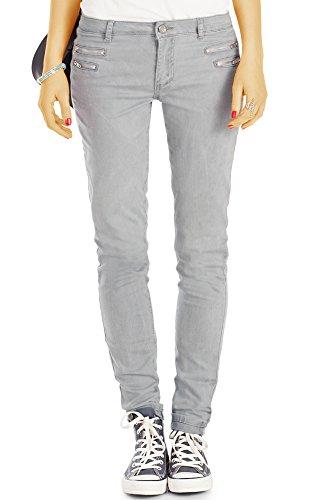 bestyledberlin Damen Slim Fit Hüftjeans, Schmale Jeans, Basic Grey Röhrenjeans j75f 36/S