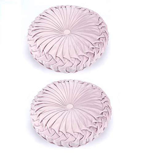 Wythe Almohadas redondas de terciopelo hechas a mano, redondas, plisadas, redondas, de terciopelo aplastado, cojines de suelo, cojines de calabaza, 15 pulgadas (rosa, 2 unidades)
