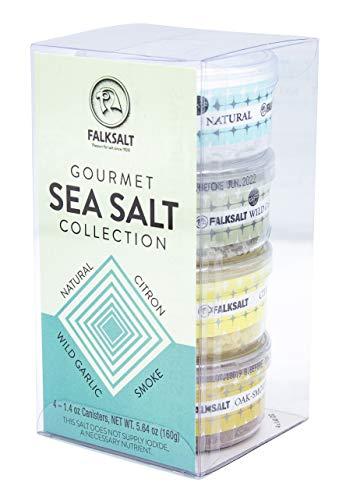 FALKSALT 4-Pack Mediterranean Sea Salt Flakes Gift Set - All Natural Finishing Flake Salt - (4 x 1.4 OZ Canisters)