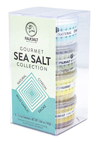 FALKSALT 4-Pack Mediterranean Sea Salt Flakes Gift Set - All Natural Finishing Flake Salt - Great for Meat, Poultry, Seafood, Veggies, Sweets, & Cocktails (4 x 1.4 OZ Canisters)