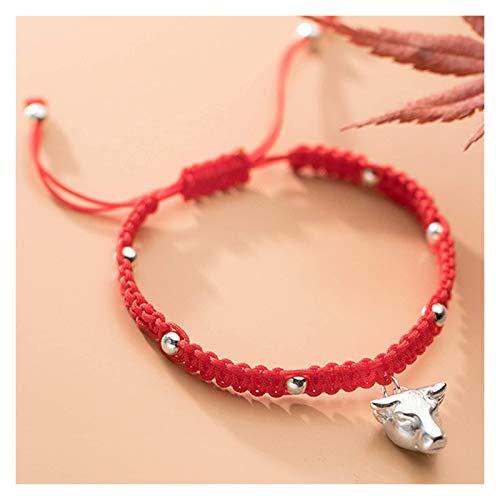 AnimeFiG Lucky Charm Bracelet 2021 Año del OXT S922 ST925 Lucky Bull Head Beads Silver Beads Red Cuerda Trenzada Pulsera Zodiac Pulsera Ajustable Amuleto Atraer Riqueza
