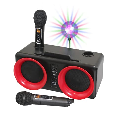 Portable Karaoke Machine for Adults Kids, Rechargeable Bluetooth Karaoke Speakers with 2 Wireless Microphone PA Speaker System for Xmas Party Birthday, Great Gifts for Boys Girls