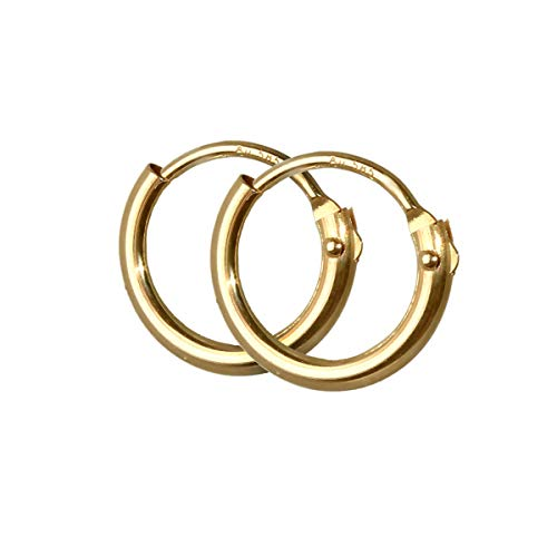 NKlaus PAAR 585 echt GOLD HERREN Klapp Creole Ohrring Ohrschmuck Ohrhänger 9,0 mm 1752