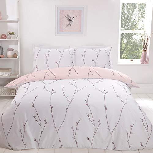 Sleepdown Willow - Juego de Funda de edredón Reversible para Cama Individual (135 x 200 cm), diseño Floral, Color Rosa