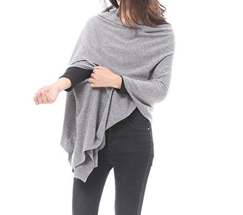 Bruceriver Women's Wool Blended Versatile Multi Style Long Knit Scarf Size XS/S (Light Gray)