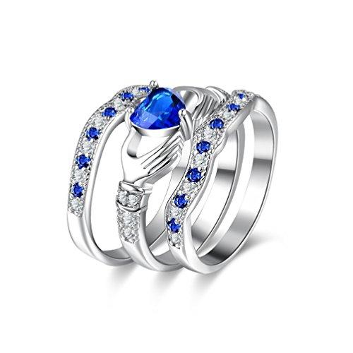 Uloveido Set de 3 Piezas de Anillos de corazón Azul apilables, Zafiro de Laboratorio Claddagh irlandés Love Engagement Conjuntos de Joyas de Boda HR314 Tamaño 11